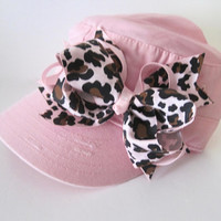 Toddler Baby Pink Cadet Cap with Adorable Pink with Animal Print Bow Baby Hats Youth Summer Caps Cadet Military Hats Girls Accessories