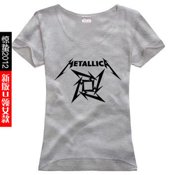 free shipping print metallica Thrash Speed Heavy Metal Hard Rock band sitcoms female women woman sports T shirts