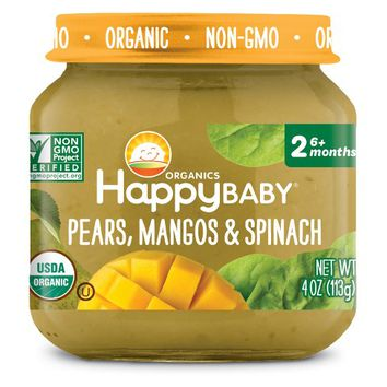 HappyBaby Fruit And Vegetable Snacks Pears, Mangos & Spinach Baby Food - 4oz