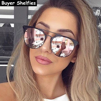 Luxury Brand Design Cat Eye Sunglasses Women Brand Designer 2017 Retro Vintage Mirror Aviator Sunglass Female Sun Glasses