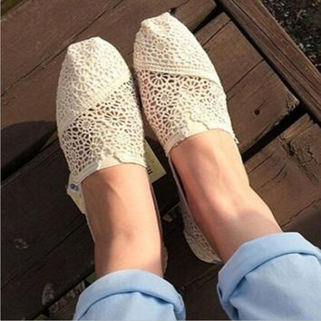 TOMS Natural Crochet Classics Flats Fashion hollow Summer Sexy Loose Shoes white-3