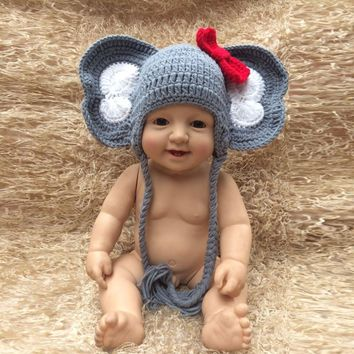 Puseky Cute Costumes Baby Clothing Photography Props Elephant Handmade Crochet Hats Unisex Toddler Beanie Caps Hats 0-3M