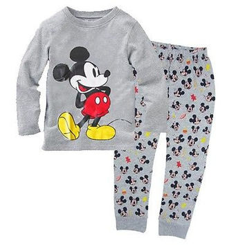 2016 New Hot Minnie Cartoon Mouse Children Baby Boys Girl Kids Homewear Sleepwear Pajamas Set Clothes Outfits Free Shipping