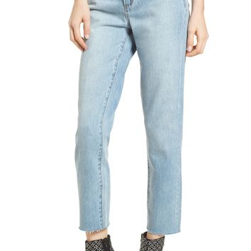 Leith High Waist Crop Straight Leg Jeans | Nordstrom