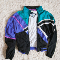 80's Sport Pink Blue Teal Black Windbreaker