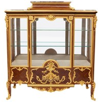 Ormolu-Mounted Kingwood and Marble Antique French Vitrine