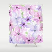 clematis vines Shower Curtain by Sylvia Cook Photography
