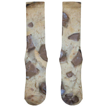 Chocolate Chip Cookies Chunks All Over Soft Socks