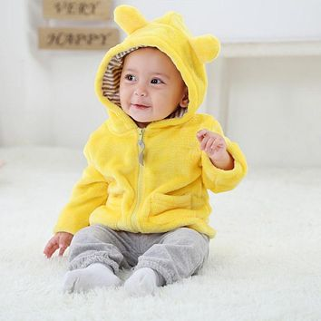 For 0-2Y Newborn Baby Autumn Warm 2018 Cute Jackets Solid Color Coat Cat Ear Hooded Outerwear Kids Jacket Children Clothing M2