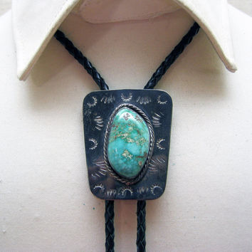 Vintage Sterling Silver Native American Turquoise Bolo Tie