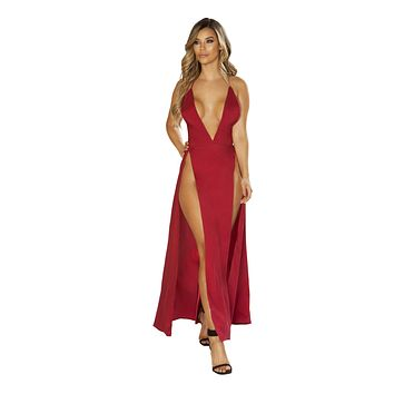 Maxi Length Satin Dress with High Slits