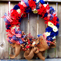 Patriotic Wreath, Americana Decor, Fourth of July, Summer Floral, American Flag Wreath