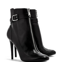 Elsa Shiny Calf Stiletto Heel Buckled Ankle Boots by Laurence Dacade