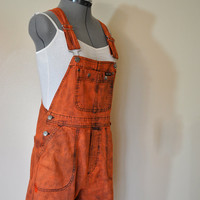 Orange Denim Bib OVERALLS  - Hand Dyed Orange Harley Davidson Denim Bib Overall Shorts - Team Spirit Rocker Hipster - Size Small (34 waist)