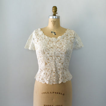 Vintage 1950s Blouse - Ivory Battenburg Lace Blouse - Though the Clouds