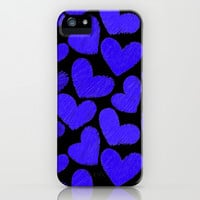 Sketchy hearts in dark blue and black iPhone & iPod Case by Silvianna