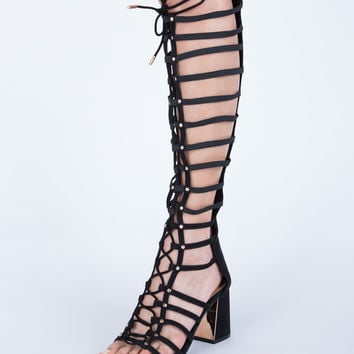 Chunky Lace-Up Sandal Heels
