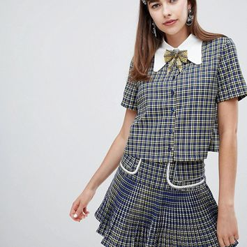 Sister Jane button up shirt with embellished ribbon tie in check two-piece at asos.com