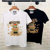 Moschino 2020 new game console gold coin graffiti printed round neck half sleeve shirt