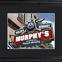 NHL Pub Print in Wood Frame - Oilers