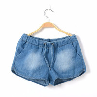 2015 new summer kids European girls denim short pant Jeans culotte age 8-16T elastic waist children trousers cotton soft
