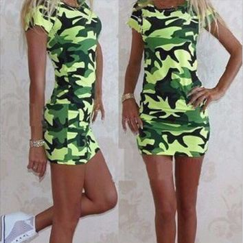 Trendy Camo Print Mini Dress