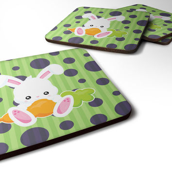 Easter Polkadot Rabbit Foam Coaster Set of 4 BB6903FC