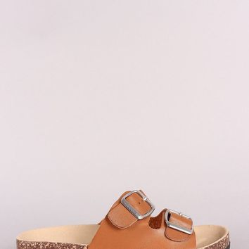 Double Buckled Cork Footbed Slide Sandal