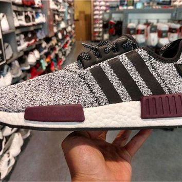 LMFUX5 Adidas NMD R1 Champs Exclusive Grey Burgundy BA7841 - 01 Boost Sport Running Shoes Classic Casual Shoes Sneakers