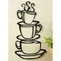 Generic COFFEE house cup java SILHOUETTE wall art metal mug NU