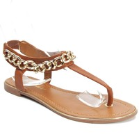 New Breckelle Jovie-12 Vegan Slip On T-Strap Gold Decor Gladiator Sandal TAN