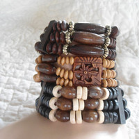 Set of 3 Wooden Stackable Bracelet Cuffs Hippie Boho Beach Festival Jewelry
