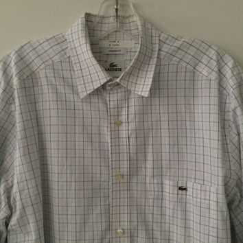 Sale!! Vintage Lacoste casual button up long sleeve cotton Shirt Size 40 Free shipping within the USA