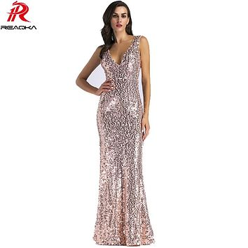 2018 Sexy Women Gold Sequins Dress Woman Christmas Backless Floor Length Long Luxury Club Party Dresses Maxi Vestido De Festa XL