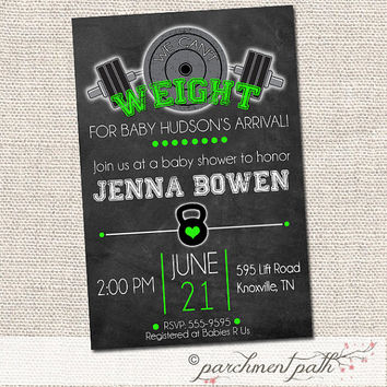 Weight Lifting Baby Shower Invitation - Can't Weight for Baby Personalized Invite - Work Out Party - Fitness Party - Gym - Printable