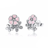 925 Sterling Silver Pink Cherry Flower Blossom Earring