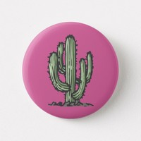 Plant Cactus Illustration Pink Button