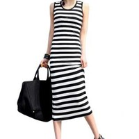 White & Black Stripe Sleeveless Maxi Dress