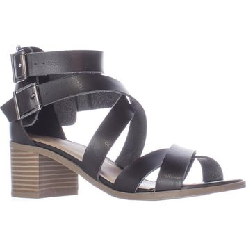 MG35 Danee Block Heel Strappy Sandals, Black, 7.5 US
