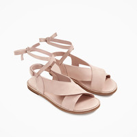FRILLED LEATHER SANDALS