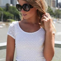 White Aztec Short Sleeve Crop Top with Cap Sleeves