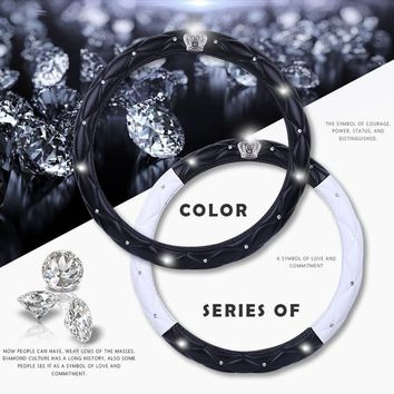 Fashion Lady Diamond Car Auto Series Steering Wheel Cover Leather Crystal Crown Rhinestone covered