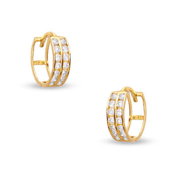 Cubic Zirconia Two Row 11mm Huggie Earrings in 10K Gold - - View All - PAGODA.COM