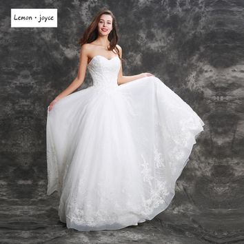 Princess White Wedding Dresses 2018 New Style Sweetheart Appliques Beading Floor Length Bridal Gowns Maxi Long Dress Plus Size