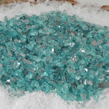 Glass Chips Ocean Blue Small - Terrarium - Beach Scene - Fairy Garden - Gnome Garden - 8 ounces - beach fairy garden decorative stone supply
