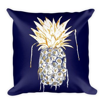 Gold Crown Pineapple Square Pillow