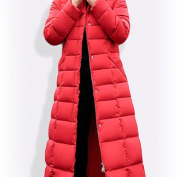 Solid Color Quilted Parkas Coat