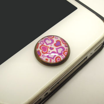 1PC Retro Epoxy Valentine Hearts Transparent Time Gems Alloy  Cell Phone Home Button Sticker Charm for iPhone 4s,4g,5,5c Lover Gift