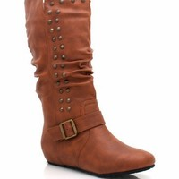 studded-mid-rise-boots BLACK COGNAC TAUPE - GoJane.com
