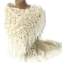 crochet shawl, ivory, hand-crocheted shawl, women fashion, crochet trends, for her,gift ideas